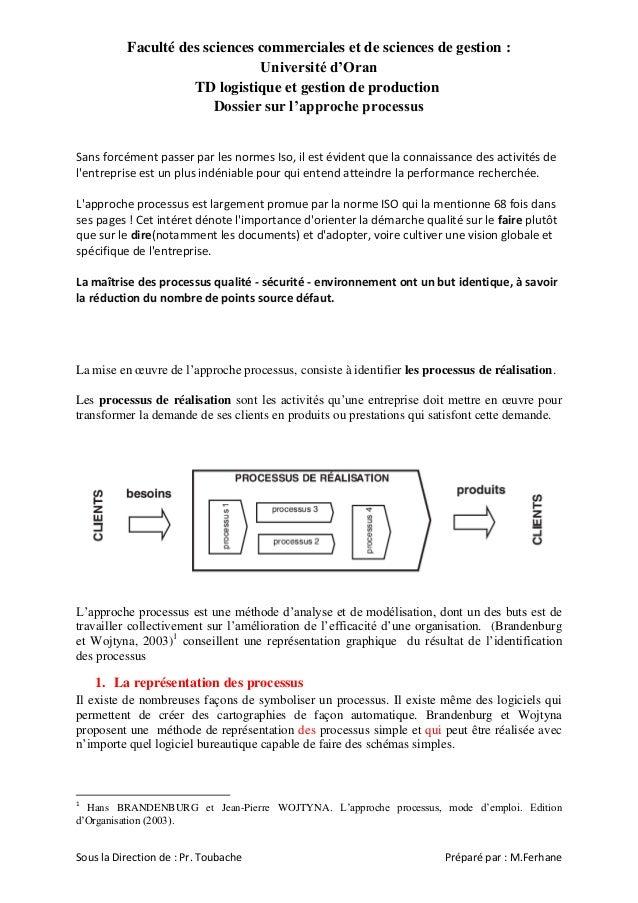 Faculté des sciences commerciales et de sciences de gestion : Université d'Oran TD logistique et gestion de production Dos...