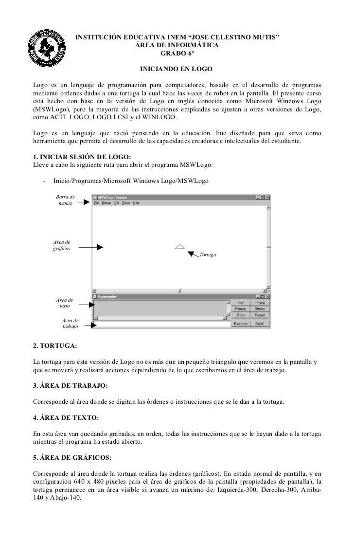 "INSTITUCIÓN EDUCATIVA INEM ""JOSE CELESTINO MUTIS""                                 ÁREA DE INFORMÁTICA                     ..."