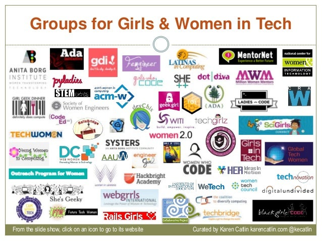 Groups for Girls & Women in Tech From the slide show, click on an icon to go to its website Curated by Karen Catlin karenc...