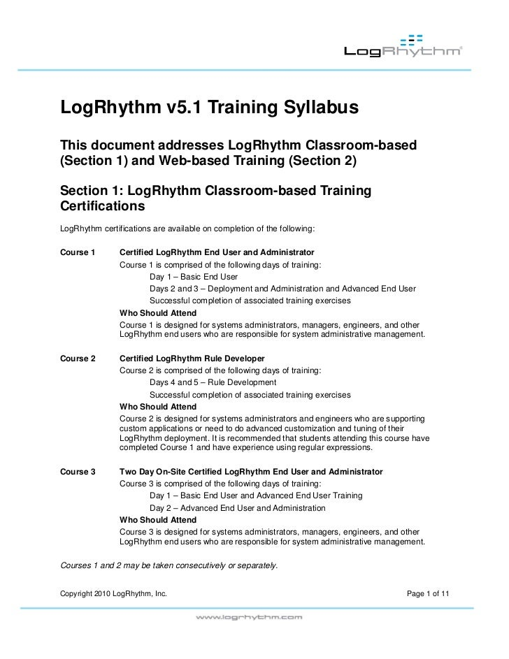 LogRhythm Training Syllabus Data Sheet