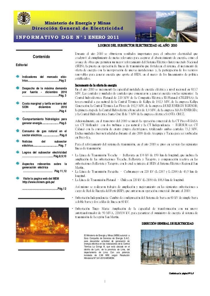 Ministerio de Energía y Minas                Dirección General de ElectricidadI N F O R M A T I V O D G E N ° 1 ENERO 2011...