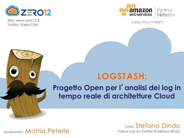 Tutor: Stefano Dindo Follow me on Twitter @stefanodindo Progetto Open per l analisi dei log in tempo reale di architetture...
