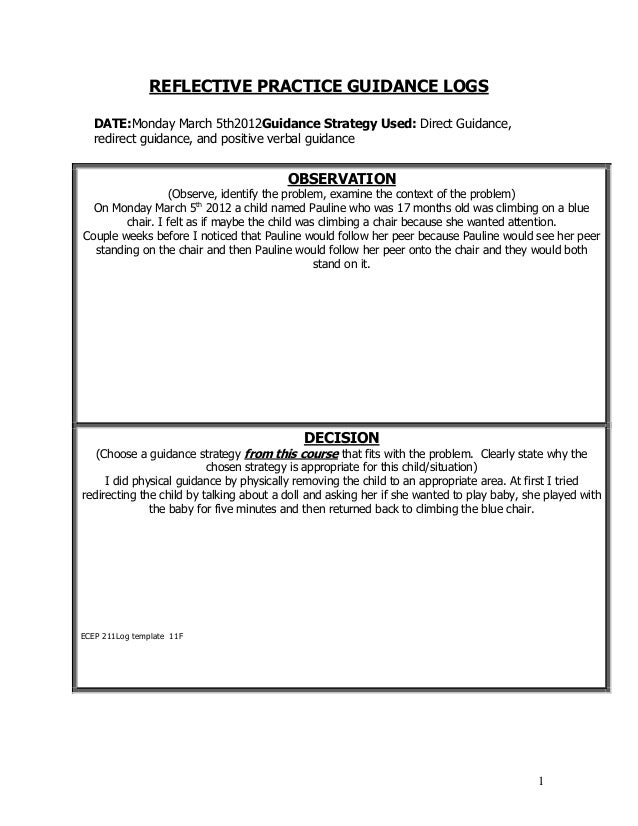 1REFLECTIVE PRACTICE GUIDANCE LOGSDATE:Monday March 5th2012Guidance Strategy Used: Direct Guidance,redirect guidance, and ...