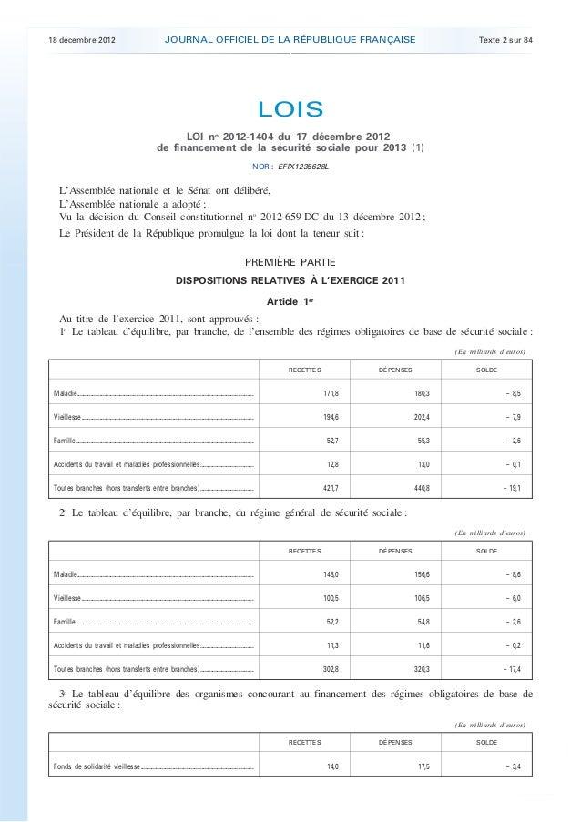 Loi n° 2012-1404 du 17 décembre 2012 de financement de la sécurité sociale pour 2013