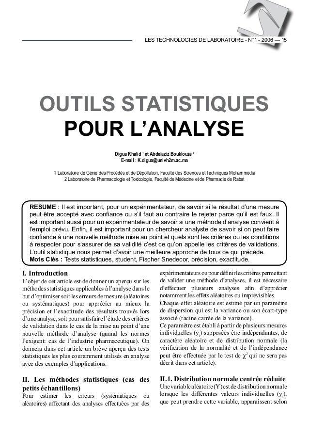 LES TECHNOLOGIES DE LABORATOIRE - N°1 - 2006 — 15 I. Introduction L'objet de cet article est de donner un aperçu sur les m...