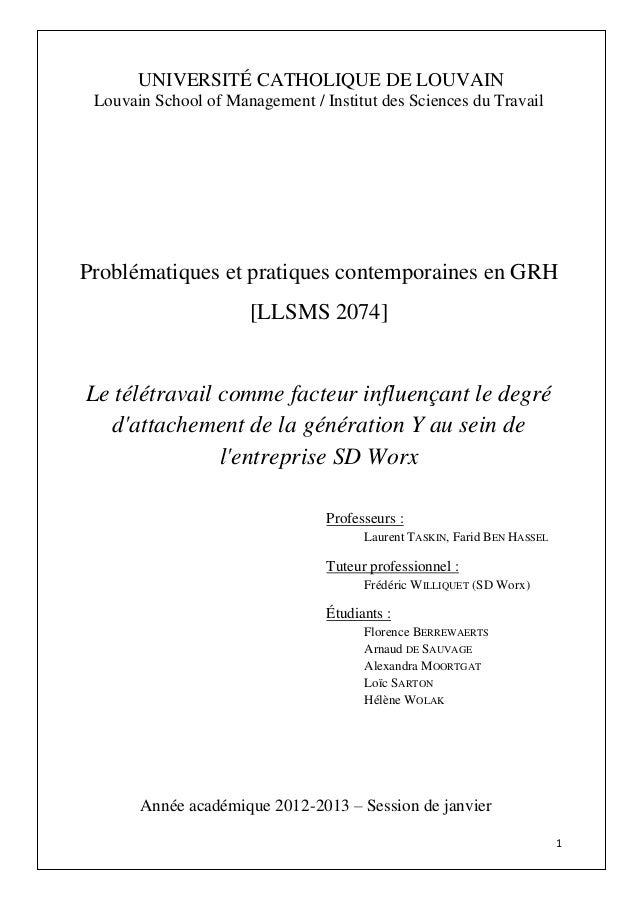1 UNIVERSITÉ CATHOLIQUE DE LOUVAIN Louvain School of Management / Institut des Sciences du Travail Problématiques et prati...