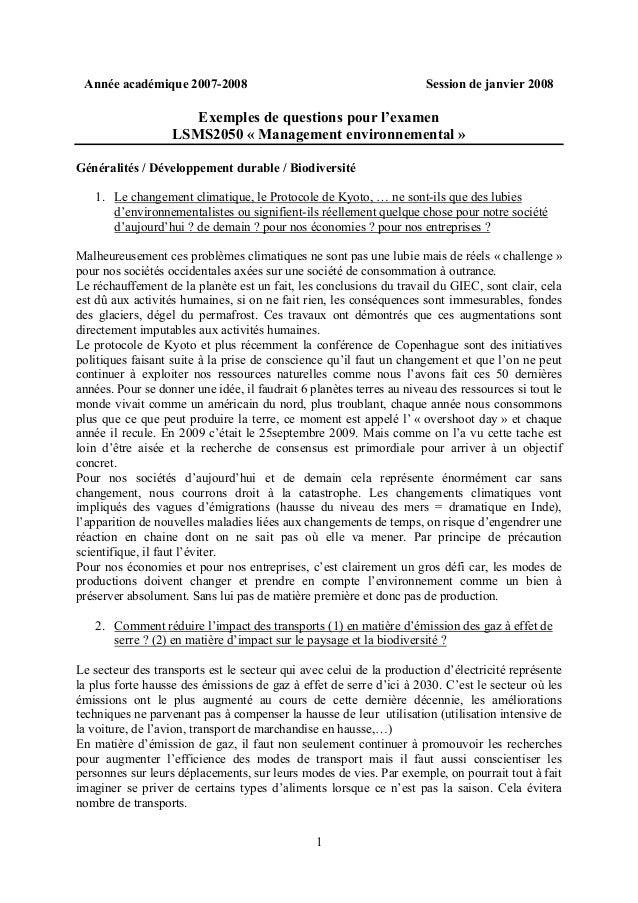 1 Année académique 2007-2008 Session de janvier 2008 Exemples de questions pour l'examen LSMS2050 « Management environneme...