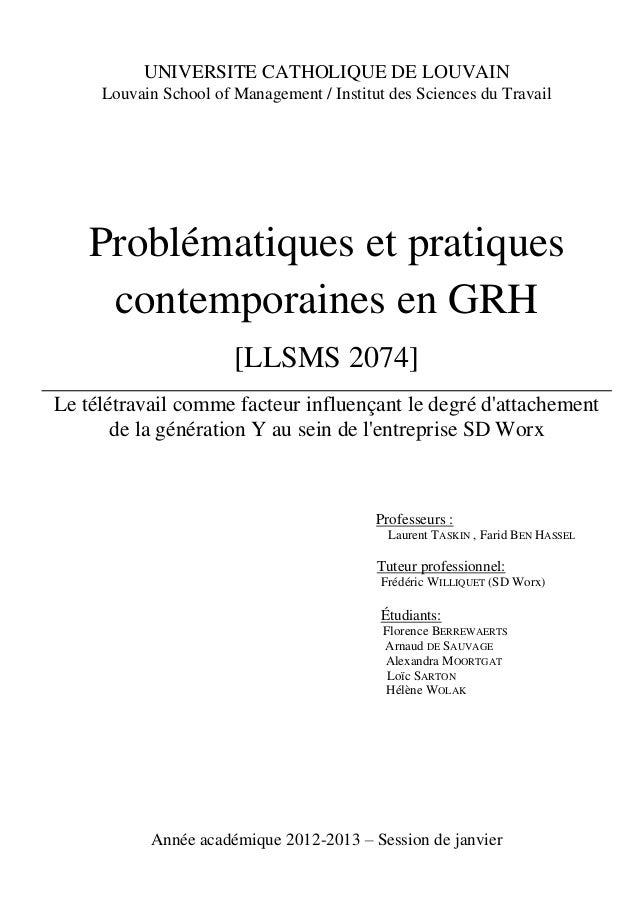 1 UNIVERSITE CATHOLIQUE DE LOUVAIN Louvain School of Management / Institut des Sciences du Travail Problématiques et prati...