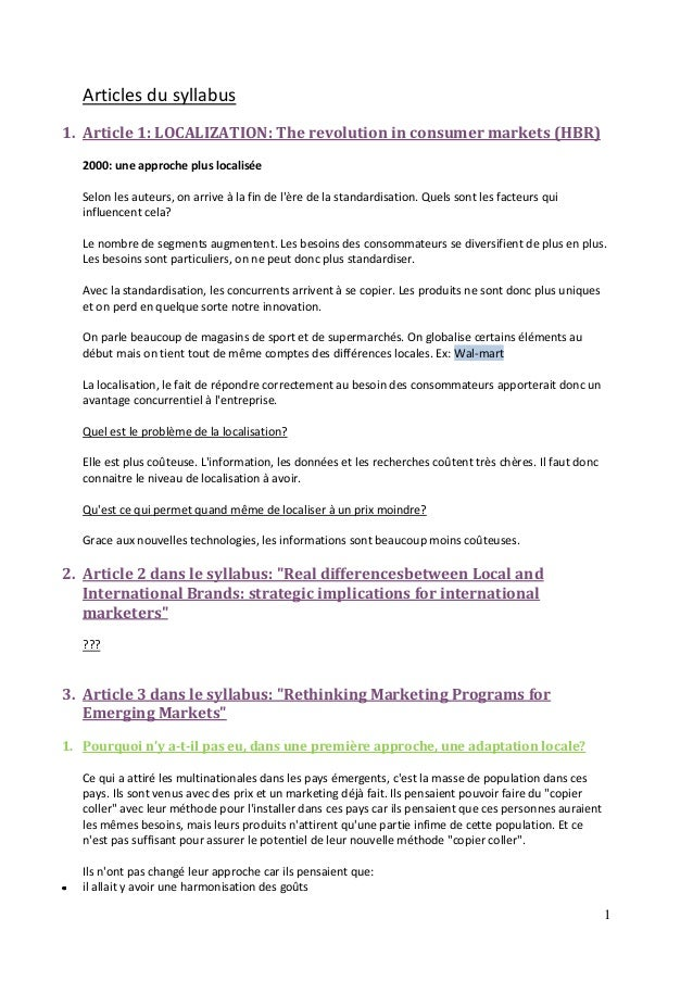 1 Articles du syllabus 1. Article 1: LOCALIZATION: The revolution in consumer markets (HBR) 2000: une approche plus locali...
