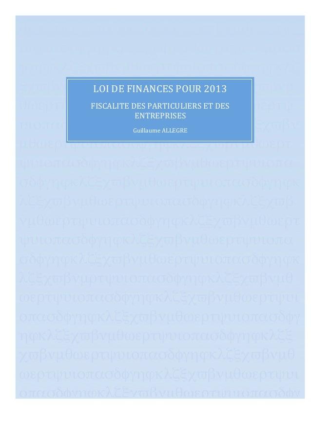 Loi de finances pour 2013