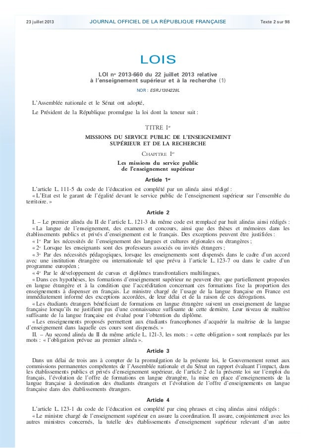 23 juillet 2013 JOURNAL OFFICIEL DE LA RÉPUBLIQUE FRANÇAISE Texte 2 sur 98 . . LOIS LOI no 2013-660 du 22 juillet 2013 rel...