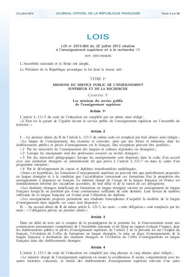 Loi Enseignement Supérieur et Recherche 23 juillet 2013
