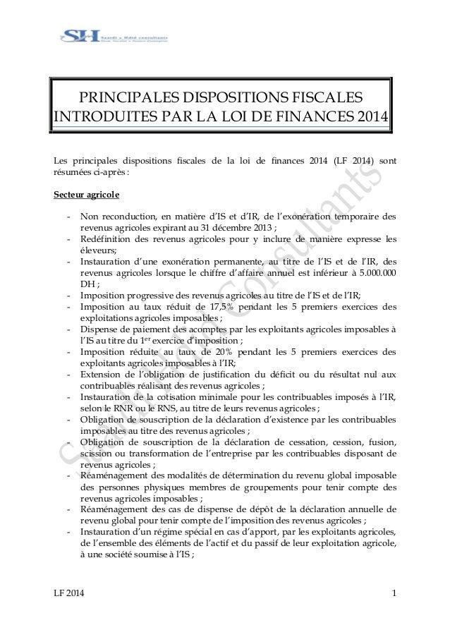 LF 2014 1 PRINCIPALES DISPOSITIONS FISCALES INTRODUITES PAR LA LOI DE FINANCES 2014 Les principales dispositions fiscales ...