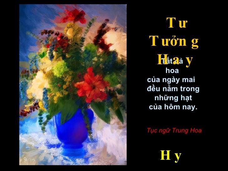 Tất cả  hoa  của ngày mai  đều nằm trong những hạt  của hôm nay. Tục ngữ Trung Hoa T ư  T ưở ng Hay Hy-V ă n