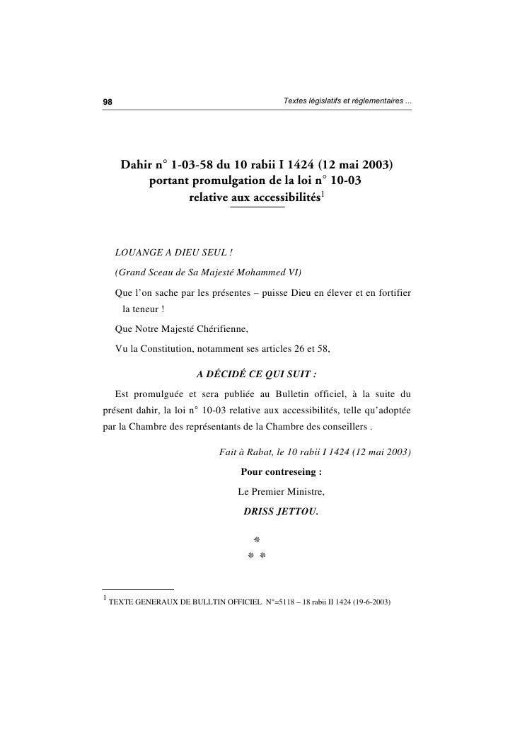 Loi n° 10 03 relative aux accessibilités