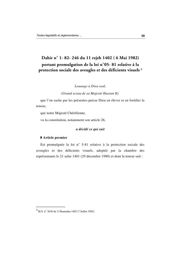 Loi n° 5 81 relative à la protection sociale des aveugles et des déficients visuels