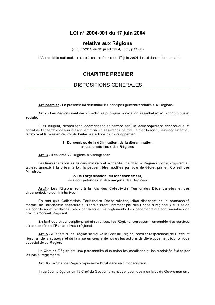 LOI n° 2004-001 du 17 juin 2004                                       relative aux Régions                                ...