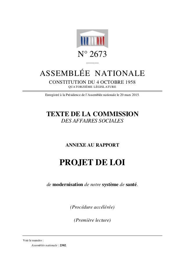N° 2673 ______ ASSEMBLÉE NATIONALE CONSTITUTION DU 4 OCTOBRE 1958 QUATORZIÈME LÉGISLATURE Enregistré à la Présidence de l'...