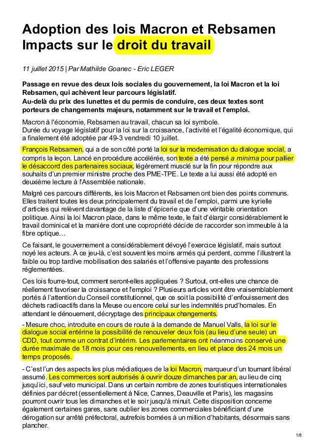 1/8 11 juillet 2015   Par Mathilde Goanec - Eric LEGER Passage en revue des deux lois sociales du gouvernement, la loi Mac...