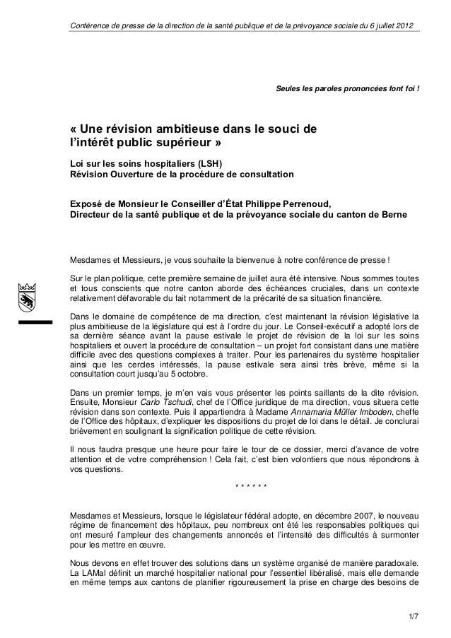 Loi sur les soins hospitaliers (lsh) - Perrenoud (Exposé)