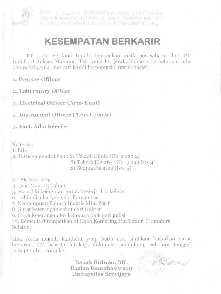 Loker Pt.Laju Perdana Indah