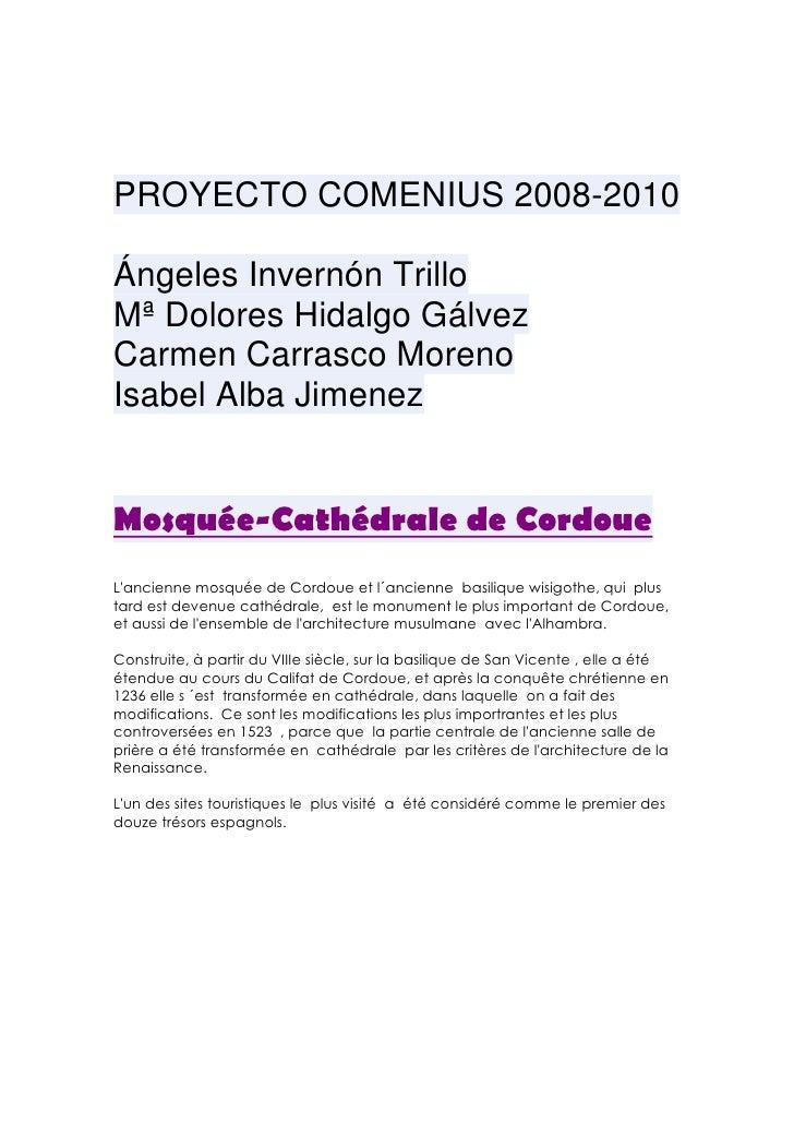 PROYECTO COMENIUS 2008-2010  Ángeles Invernón Trillo Mª Dolores Hidalgo Gálvez Carmen Carrasco Moreno Isabel Alba Jimenez ...
