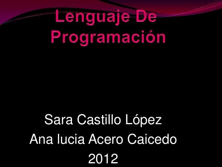 Sara Castillo LópezAna lucia Acero Caicedo          2012