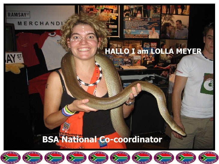 HALLO I am LOLLA MEYER BSA National Co-coordinator