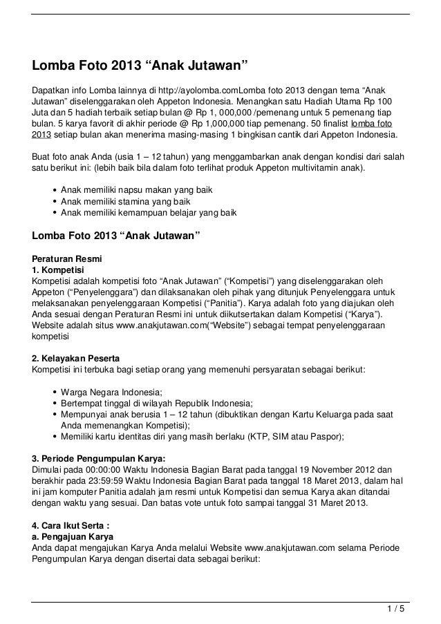 "Lomba Foto 2013 ""Anak Jutawan""Dapatkan info Lomba lainnya di http://ayolomba.comLomba foto 2013 dengan tema ""AnakJutawan"" ..."