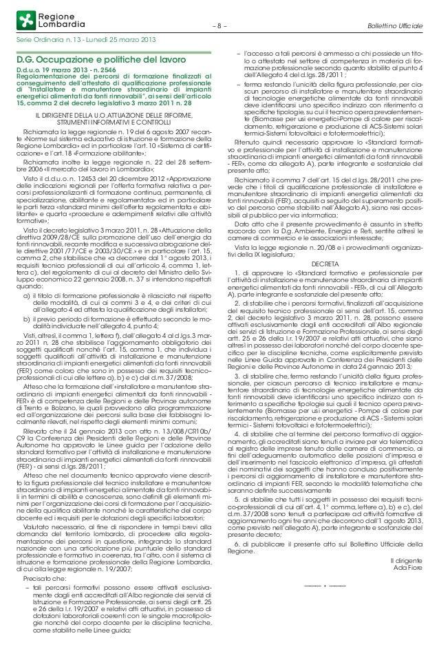 Lombardia dd 2546 2013 formazione manutenzione installazione rinnovabili