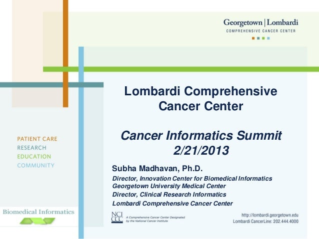 Lombardi Comprehensive Cancer Center Cancer Informatics Summit 2/21/2013 Subha Madhavan, Ph.D. Director, Innovation Center...