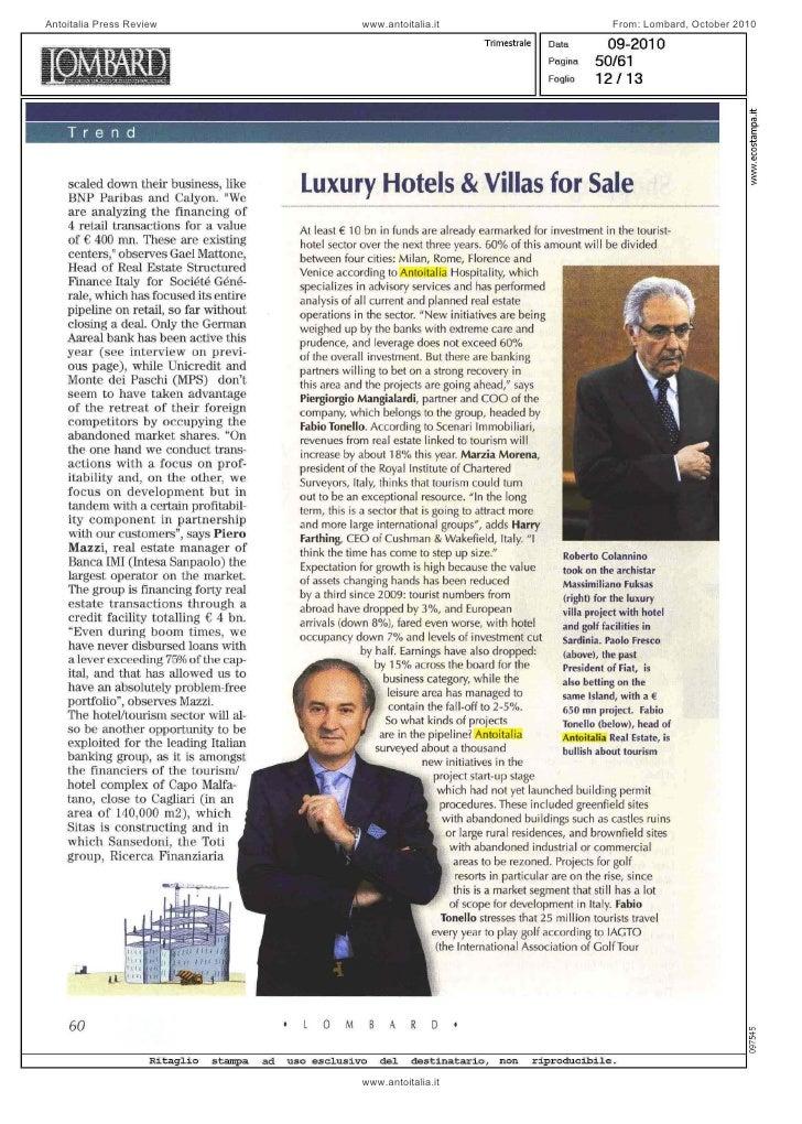 Lombard, October 2010, Antoitalia interview
