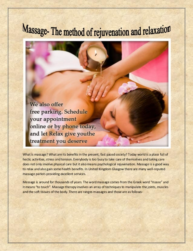 What is massage? What are its benefits in the present, fast paced society? Today world is a place full of hectic activitie...