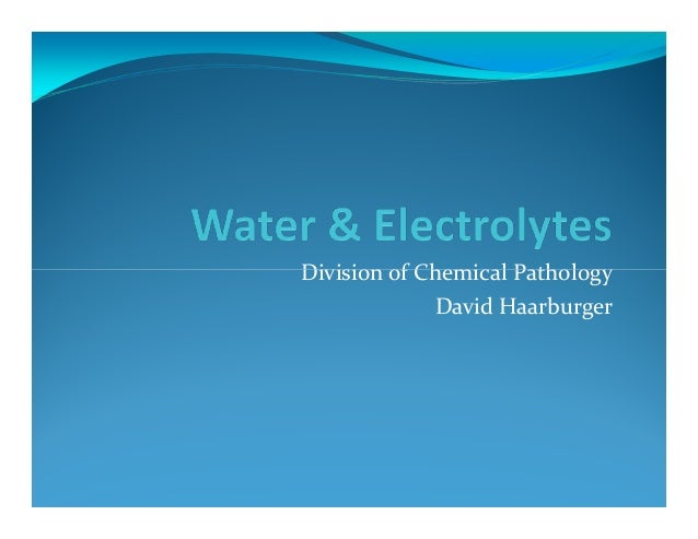 Division of Chemical Pathology              David Haarburger