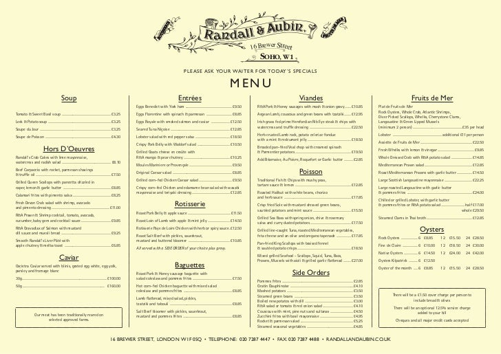 South Street Restaurant Menu
