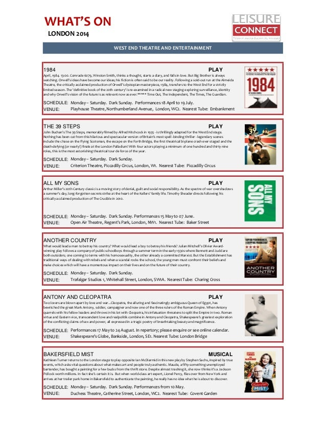 WHAT'S ON LONDON 2014 1984 PLAY SCHEDULE: VENUE: THE 39 STEPS PLAY SCHEDULE: VENUE: ALL MY SONS PLAY SCHEDULE: VENUE: ANOT...