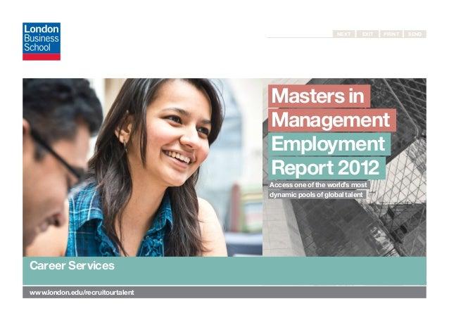 MiM Employment Report 2012, London Business School