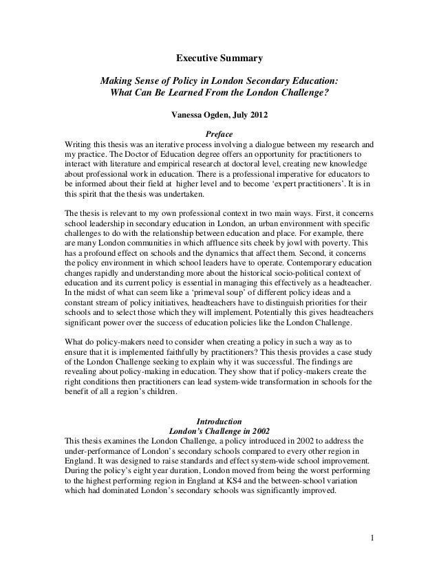 Making Sense of Policy in London Secondary Education: What can be Learned from the London Challenge? (Executive Summary) - Vanessa Ogden