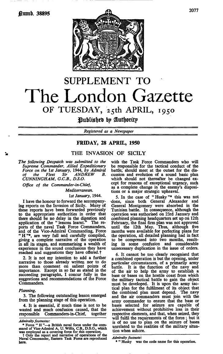 London gazette 1950   sicily