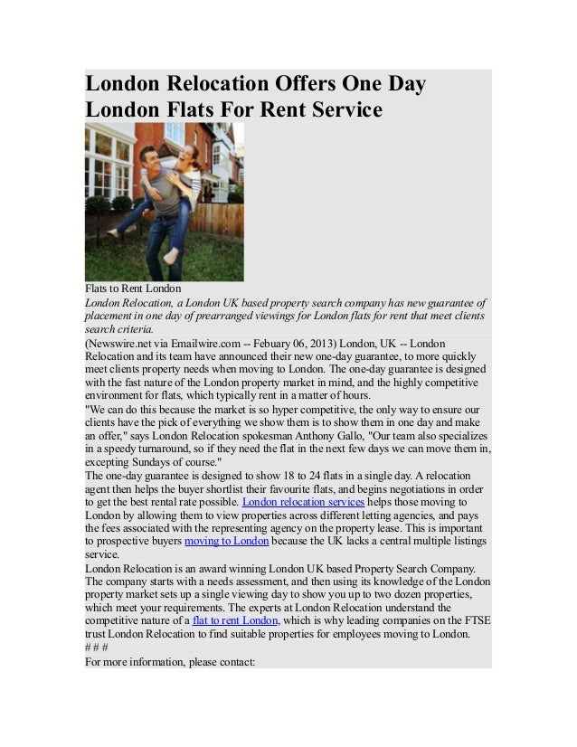 London Relocation Offers One Day London Flats For Rent Service