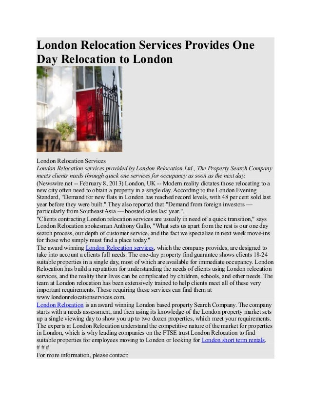 London Relocation Services Provides One Day Relocation to London