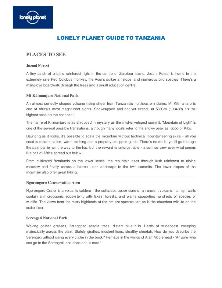 LONELY PLANET GUIDE TO TANZANIAPLACES TO SEEJozani ForestA tiny patch of pristine rainforest right in the centre of Zanzib...