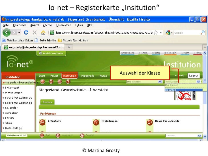 "lo-net – Registerkarte ""Institution"" © Martina Grosty  Auswahl der Klasse"
