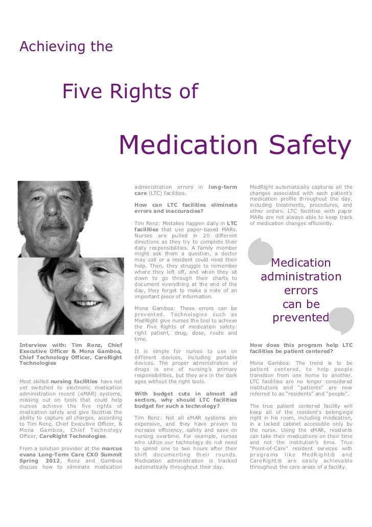 Achieving the                Five Rights of                                       Medication Safety                       ...