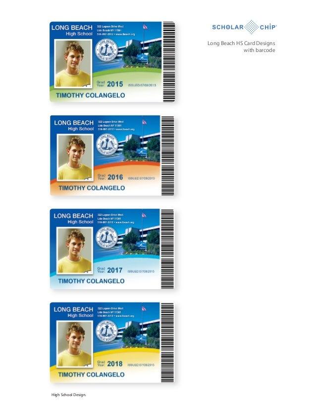 Long Beach HS Card Designs with barcode  High School Design.