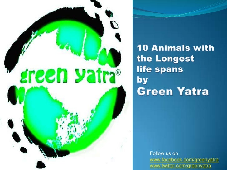 10 Animals with the Longest <br />life spans<br />by<br />Green Yatra<br />Follow us on<br />www.facebook.com/greenyatra<b...