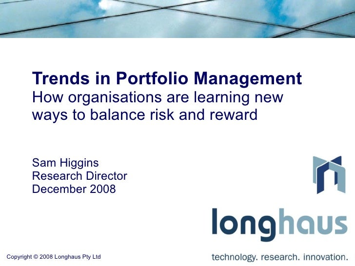 Trends in Portfolio Management: How organisations are learning new ways to balance risk and reward