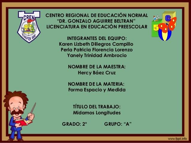 """CENTRO REGIONAL DE EDUCACIÓN NORMAL """"DR. GONZALO AGUIRRE BELTRAN"""" LICENCIATURA EN EDUCACIÓN PREESCOLAR INTEGRANTES DEL EQU..."""