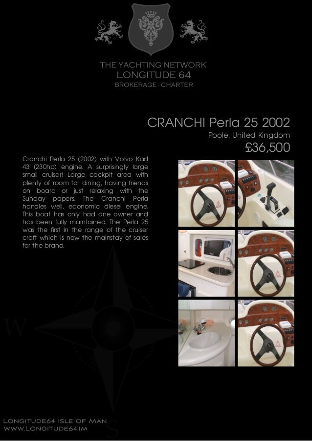 CRANCHI Perla 25, 2002, £36,500 For Sale Brochure. Presented By longitude64.im