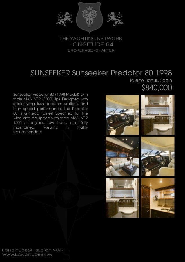 SUNSEEKER Sunseeker Predator 80, 1998, $840,000 For Sale Brochure. Presented By longitude64.im